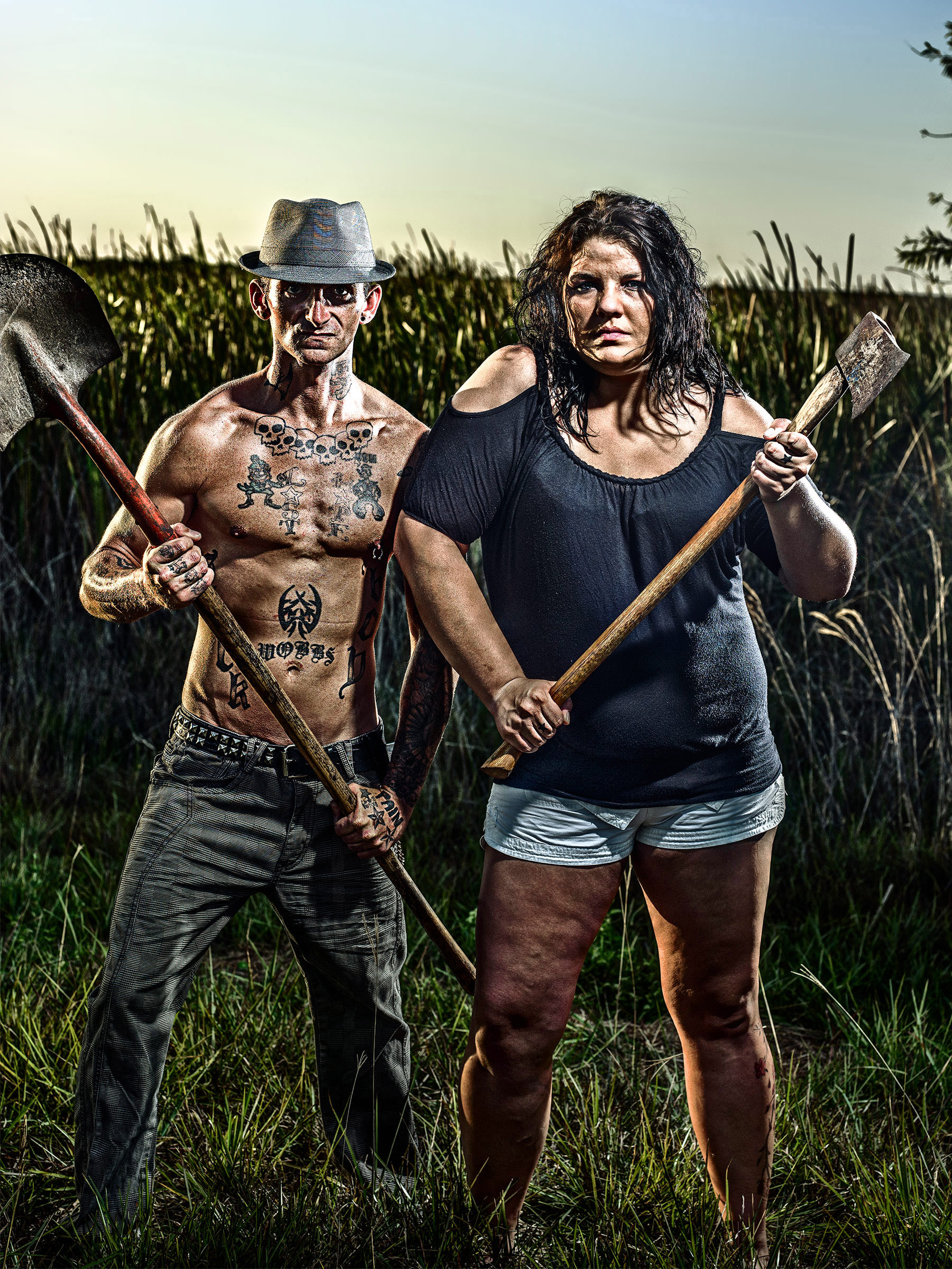 AXE TWINS GUARDIANS of the EVERGLADES FLORIDA NO TRESPASSING CLOSED NIGHT WARNING BEST EDITORIAL PORTRAIT PHOTOGRAPHER ADVERTISING NYC AWARD WINNING PHOTOGRAPHY NY LA BERLIN DENVER MUNICH PARIS LONDON Wick Beavers NYC Photographer