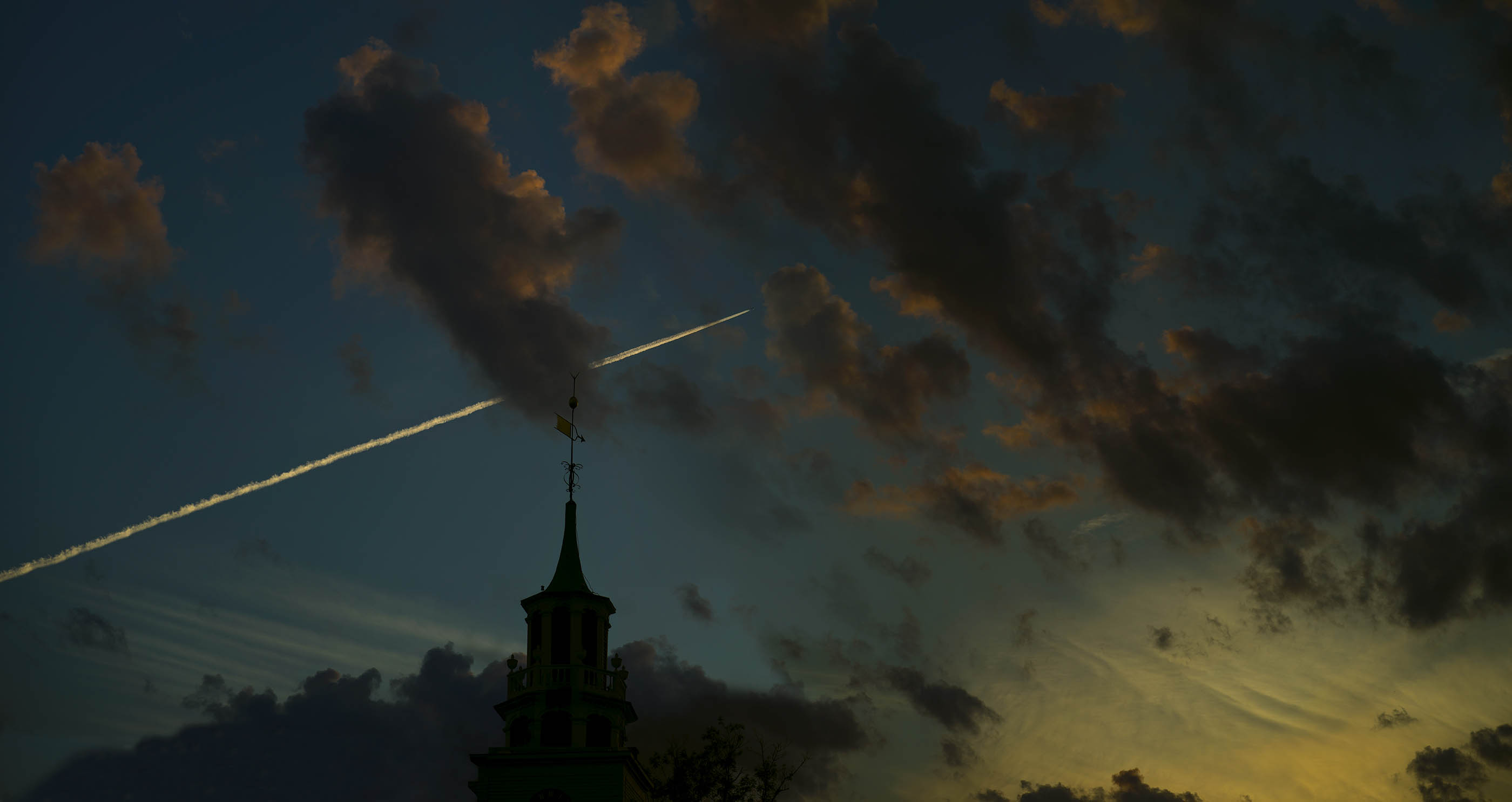Church Spire clouds sunset and Contrail Sheffield MA Wick Beavers Best NYC and LA Fine Art Sky Photographer