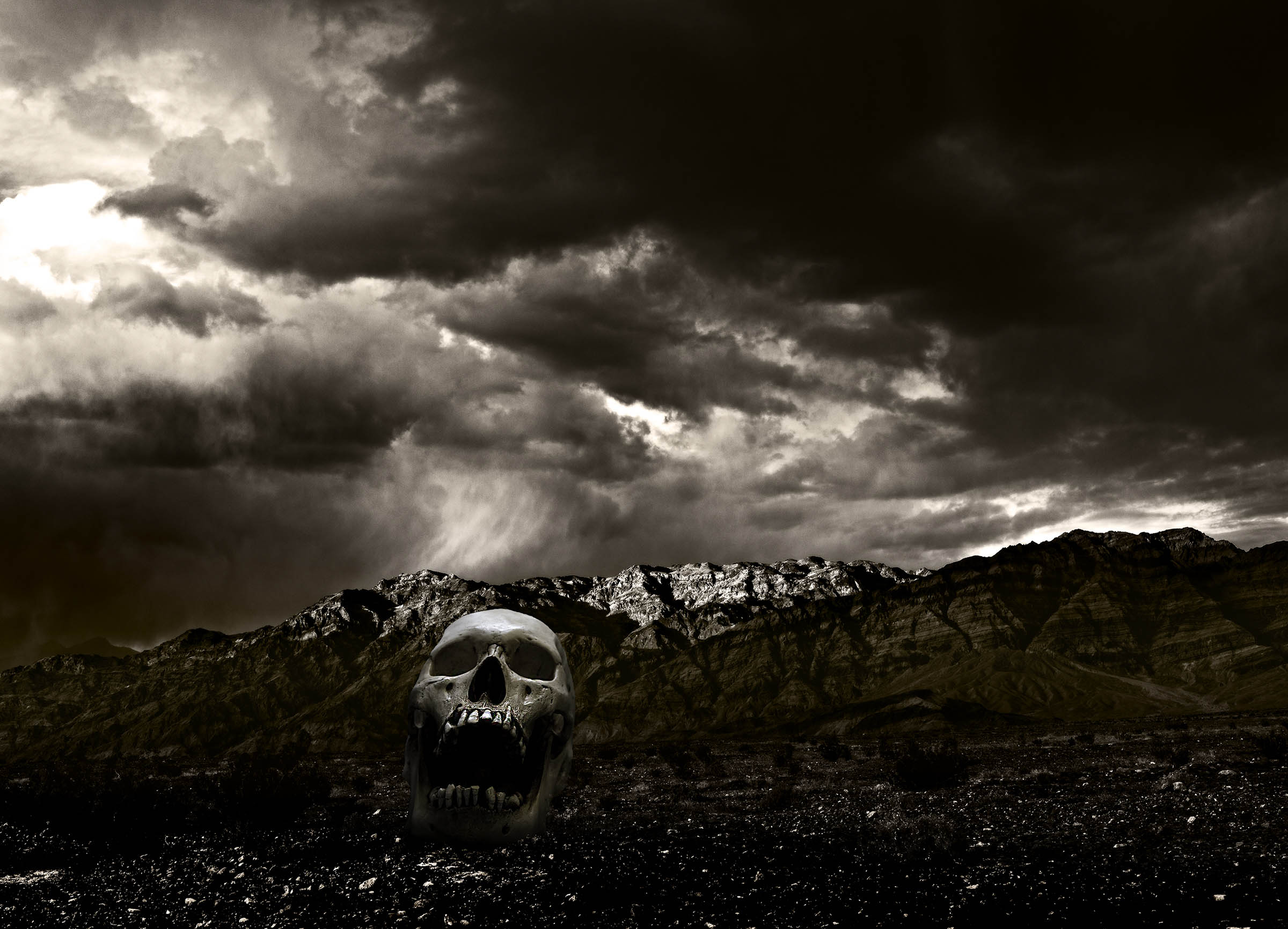 Death Valley Portrait by the Best Fine Art Portrait Advertising Gallery Photographer award winning Wick Beavers Photography in Las Vegas LA NYC Death Valley Sun Down with Skull
