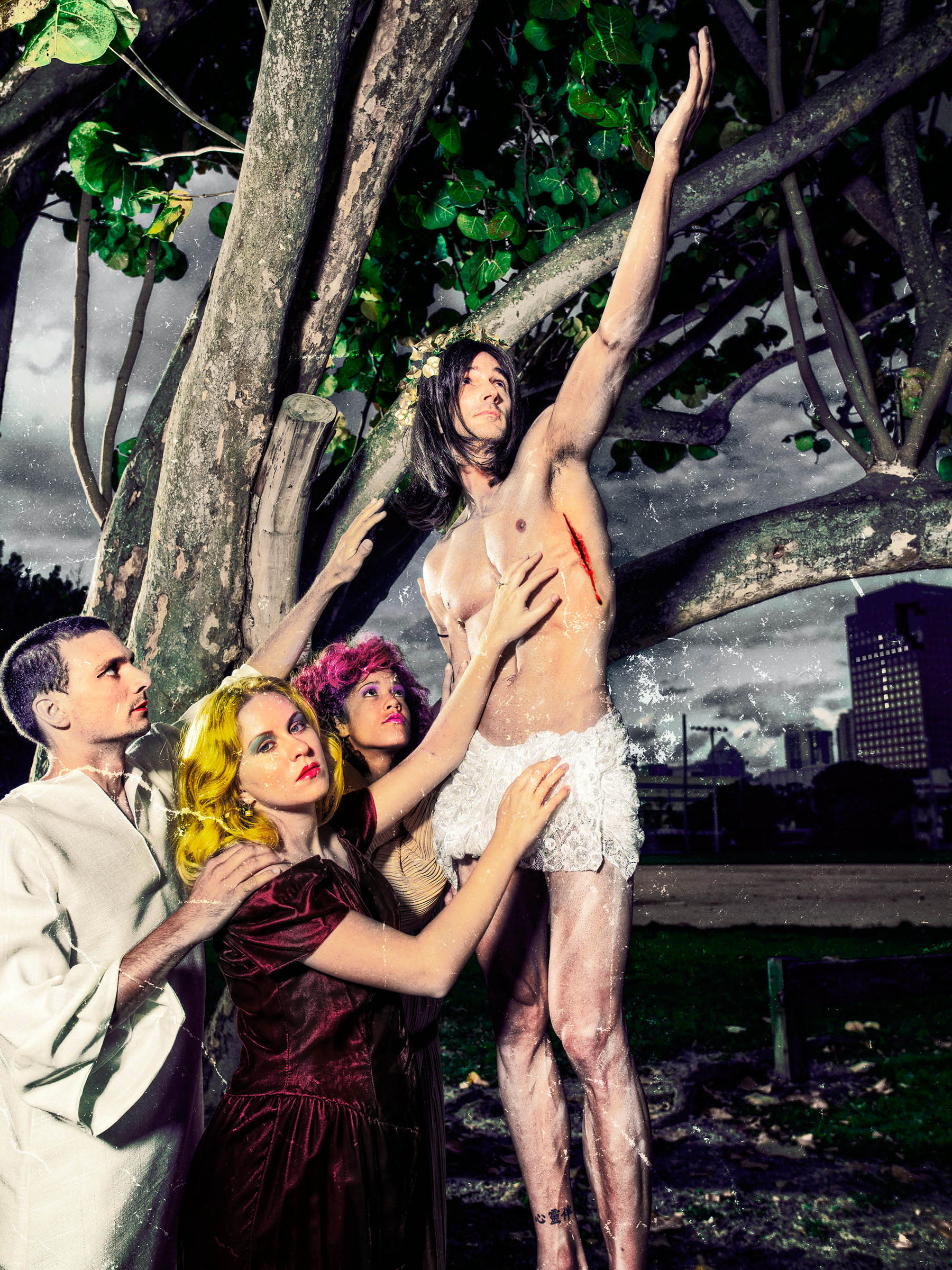 Easter Morning at the Ft Lauderdale Ball Park Jesus and Mary and Mary Magdalena and Brother John the Ascension by the best conceptual PORTRAIT Photographer Professional Portraits by Wick Beavers Photographer in NYC and LA