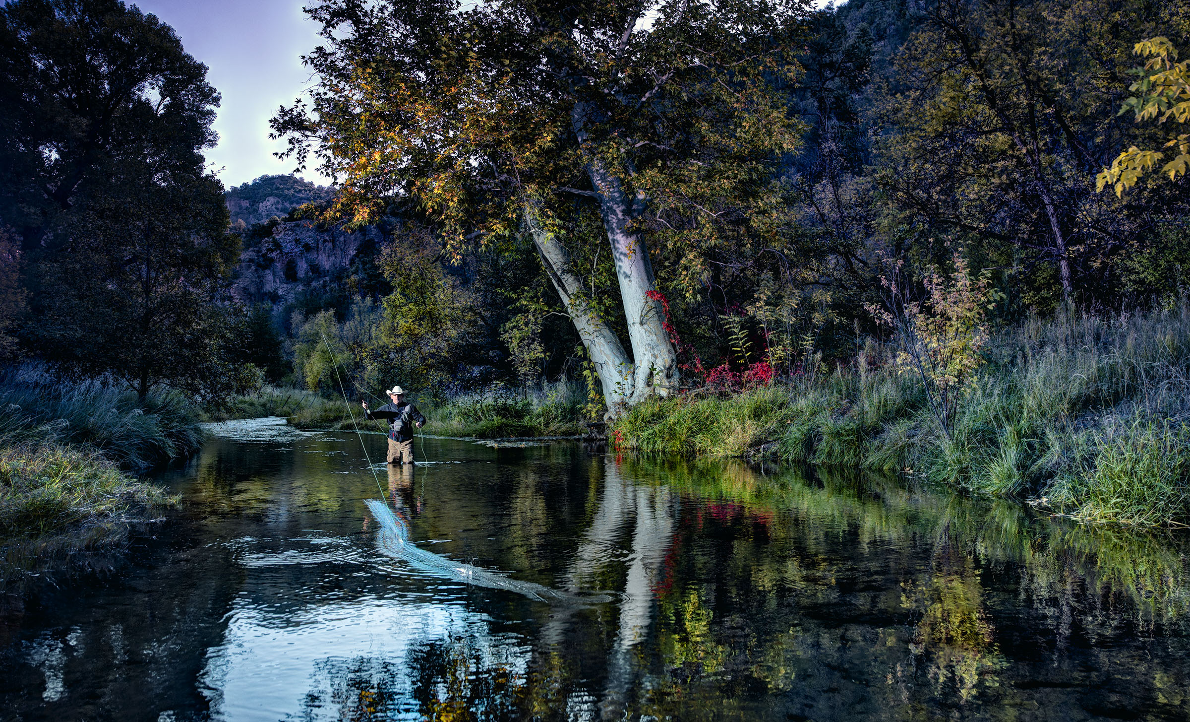 Fly Fishing Casting for the Rare Gila Trout, Fork of the Gila, Gila Wilderness, Wick Beavers editorial Portrait and Phone Book Cover Photographer NYC LA NM