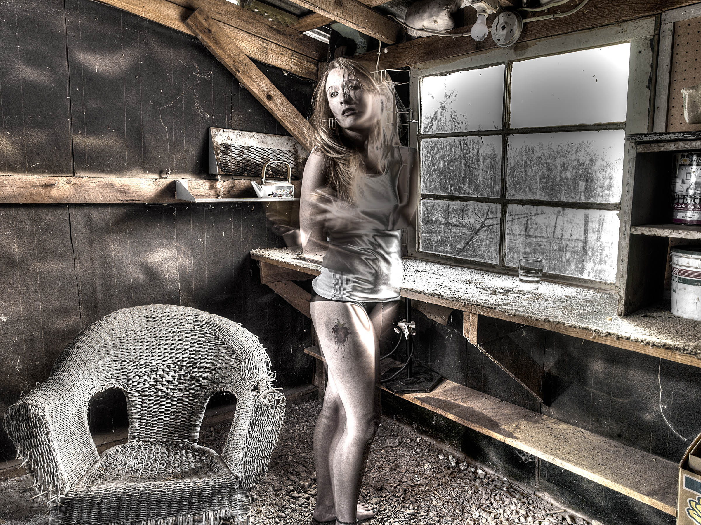 Girl in Shed, Photography by Fine art Photographer NYC Wick Beavers LA Barn San Lorenzo Wick Beavers Photographer