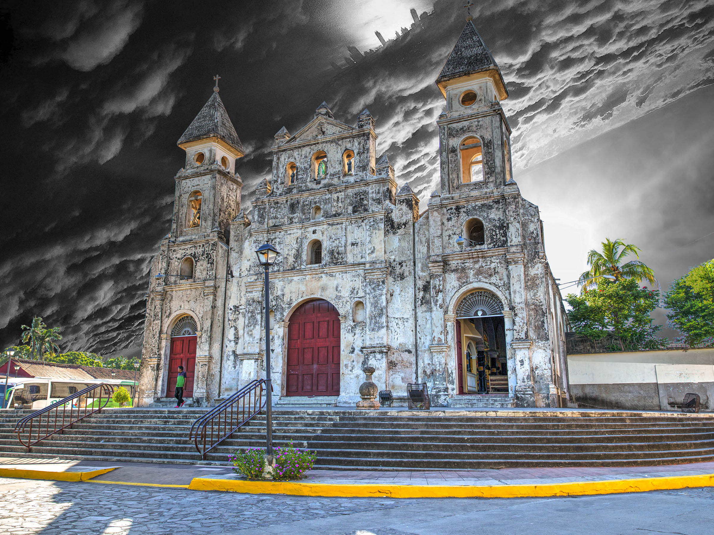 Granada Nicaragua Church with Chicago Sky Landscape Photograph by Wick Beavers Photographer NYC LA DC Miami Denver Santa Fe