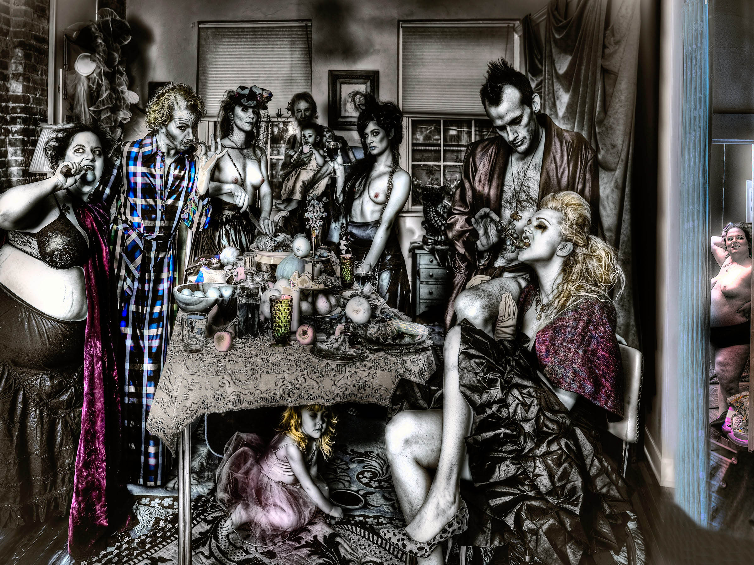MY Family and Other Animals stand up for New Years Eve Dinner during Pandemic Fine art conceptual Portrait by the Best NYC Professional Portraiture Photographer in NYC LA DC MIami Paris and London Actors Musicians Executives Wall Street Hollywood Broadway Celebs